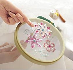 Coser abalorios en tela