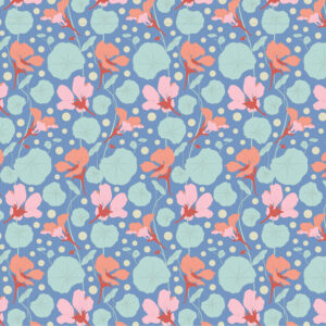Tela tilda Gardenlife Nasturtium Blue