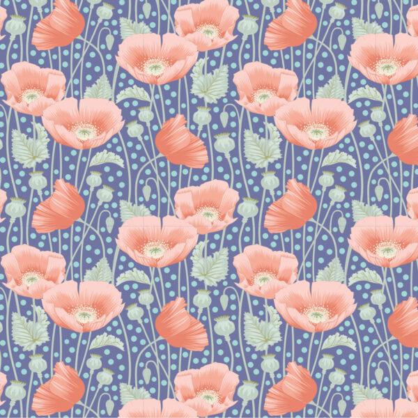 Tela tilda Gardenlife Poppies Blue